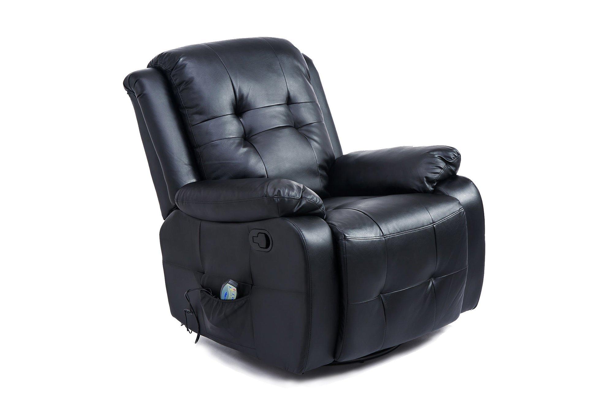Fotel do masażu z funkcją podgrzewania Homcom 700-053BK Czarny